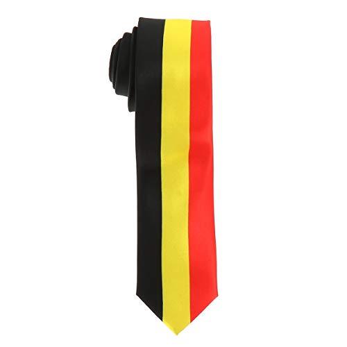 cravateSlim Corbata Bandera Belga - Colores del Pas Blgica - Corbata Bandera Tricolor Negra Amarilla Roja - Hombre o mujer - Evento o Disfraz