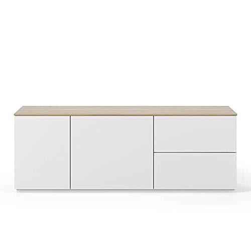 Buffets Design et élégants, Collection Join, signée TEMAHOME. - Join 160L2, Base Classique, Blanc Mat, Plateau en chêne