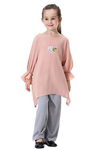 GladThink Meisjes Islamitische Arabië Zuidoost-Azië Losse Shirt met Culottes Broek Set Jurk