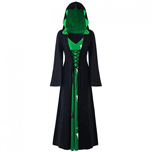 Mymyguoe Halloween Party Kostüm Gothic Mittelalter Damen Kleid Karneval Cosplay Party Vintage Kapuzenpullover Kleidung Mittelalterliches Kostüm Damen Lange Ärmel Renaissance-Kleid mit Trompetenärmel