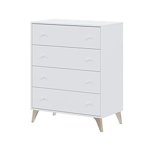 Comoda con 4 Cajones, para Dormitorio, Modelo Sweet, Acabado en Color Blanco Artik, Medidas: 77,5 cm (Ancho) x 95 cm (Alto) x 40 cm (Fondo)