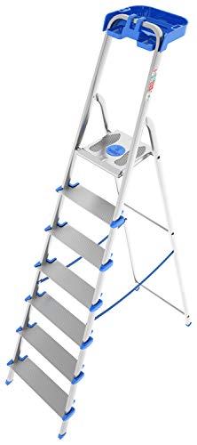 Colombo SCALA7GRALP, Scala in alluminio 7 gradini XL con porta oggetti, Alluminio/Blu