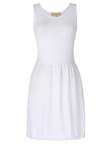 Kate Kasin Sleeveless Lace Decorated Elegant Full Petticoate Slip White M...