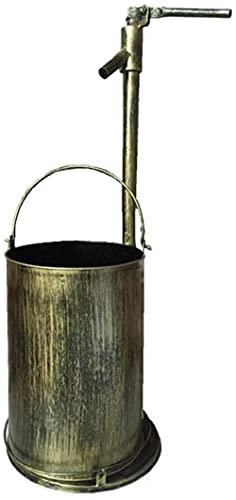 DZCGTP Papelera de Reciclaje de residuos/Papelera Grifo de Metal Retro Cubo de Basura Redondo Bote de Basura Decorativo para jardín al Aire Libre Hecho a Mano