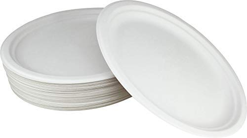 100% Compostable White Oval 12.5-inch Paper Platters, 60-Plates, Heavy-Duty Premium Quality Disposable Dinner Plate