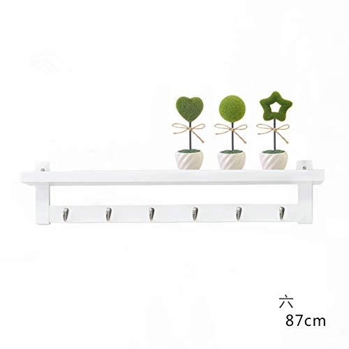 ZXL wandkapstok, bamboe, van massief hout, voor slaapkamer, woonkamer, keuken, bewaarhuis, plank met haken, meerdere vakken (kleur: bruin, maat: 5)