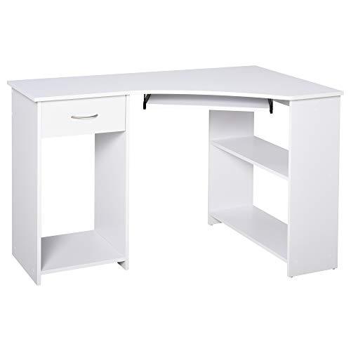 HOMCOM L-Shaped Corner Computer Desk w/ 2 Shelves Wide Worktop Keyboard Tray Drawer & CPU Stand Home...