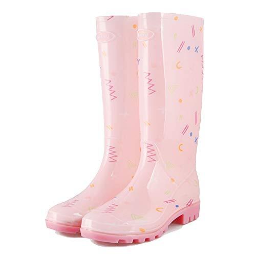 LWZ Botas de Lluvia Estampadas para Mujer Botas de Agua de Moda para Exteriores Botas de Trabajo de jardín Altas Impermeables, Rosa
