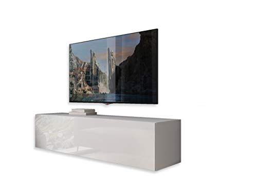 LUK Furniture COLGANTE 150 cm Lowboard Hängeschrank Weiß Hochglanz HG Fernsehschrank mit LED Beleuchtung und Push to Open System TV- Bank Sideboard TV-Schrank Wohnwand Wohnzimmer