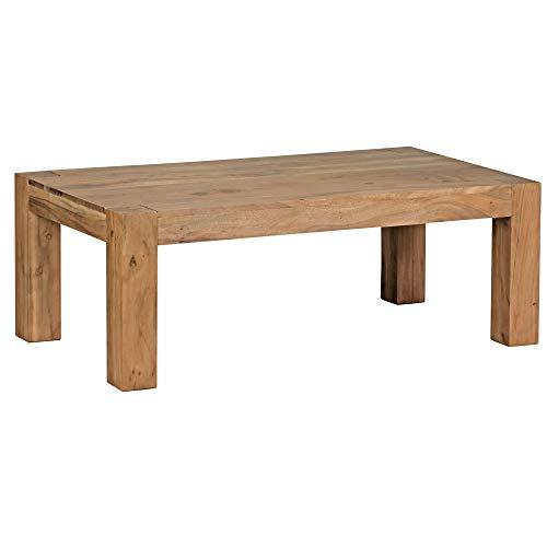 Wohnling Couchtisch Massiv-Holz Akazie 110 cm breit Wohnzimmer-Tisch Design braun Landhaus-Stil Beistelltisch Natur-Produkt Wohnzimmermöbel Unikat modern Massivholzmöbel Echtholz rechteckig
