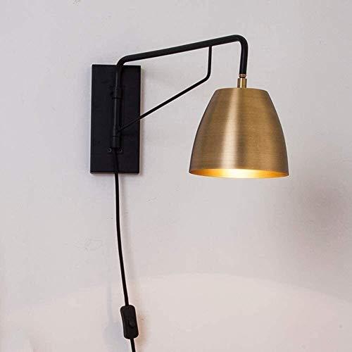 Lámpara De Pared Simple Y Fresca Estilo minimalista Iluminación de pared de metal E27 Lámpara de pared Brazo largo Pared de pared Dormitorio Lámpara de noche 1.8M Cable con enchufe y interruptor Estud