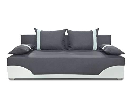 Bettsofa Schlafsofa Sofa Dario - Klappsofa mit Schlaffunktion und Bettkasten, Schlafcouch, Couch, Couchgarnitur, Sofagarnitur (Grau + Weiß (Neo 31 + Dolaro 511))