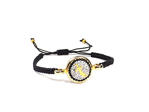 Remi Bijou Zülfikar Sword Ali Islam Aleviten Osmanli/Islam Muslim Black Cord Gold Colour Crystal Bracelet