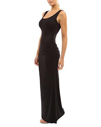 ZiXing Damen ärmelloses Sommer Maxi Kleid mit Rundhalsausschnitt und Seitenschlitz Schwarz S