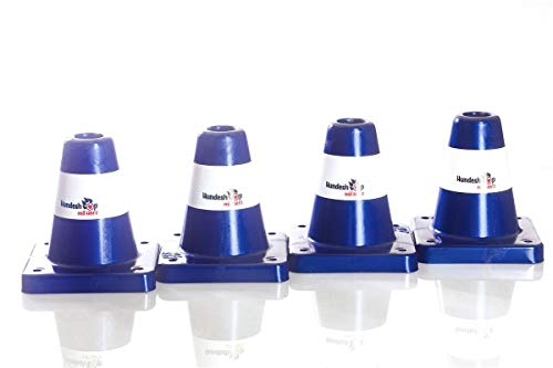 Hundeshop mit Herz 4 Stück Box-Pylone mittelschwer, offen, gerundete Kanten im Set blau (RAL 5002): Banderole Weiss