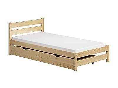 Children's Beds Home - Cama individual - Apollo para niños pequeños y adolescentes - Tamaño 190x90, Color Natural, Cajón Dos Pequeños, Colchón 10 cm de Latex/Coco