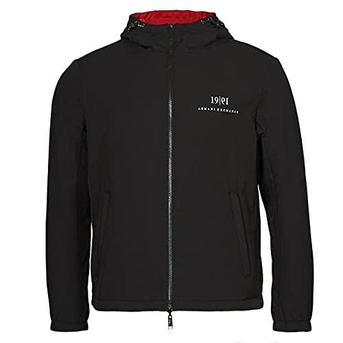 Armani Exchange Blouson with Hood. 1991 Chest. Big Logo on Back Two Pockets Jacket, BLACK, XL
