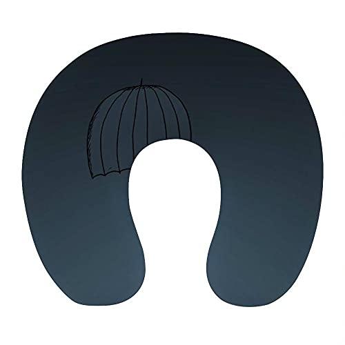 Almohada Viaje Cuello 30*29*10 cm 100% Fibra de Poliéster Ultrafina Almohada Viaje Cervical Transpirable con Funda con Cremallera Cojin Cervical Viscoelástica de Espuma,Azul Oscuro