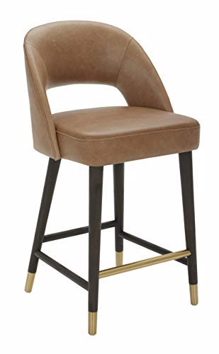 """Amazon Brand – Rivet Whit Contemporary Leather Counter Height Stool with Gold Accents, 37""""H, Light Brown"""