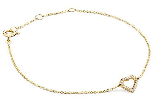 Miore Armband - Armreif Damen Kette Gelbgold 9 Karat / 375 Gold mit Herz Diamant Brillianten 0.06 ct 19 cm