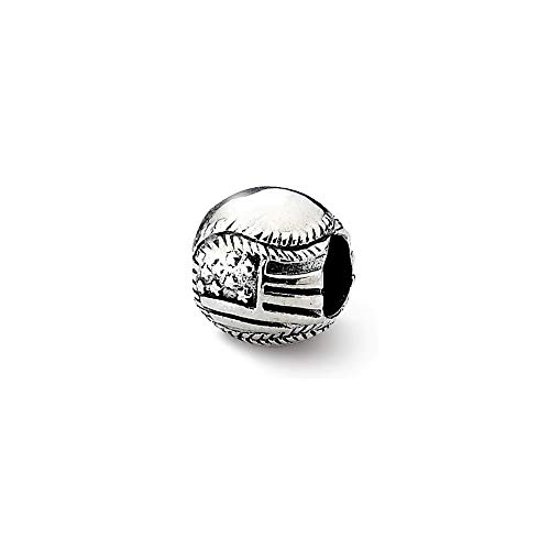 Sterling Silber Reflections Baseball Usa Flagge Perlen Charm-JewelryWeb