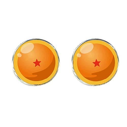 MUATE Dragon Ball z Clips & Manschettenknöpfe Dragon Ball Sterne Manschette Silber Glas Krawattenklammer Handgemachte Geschenke Für Freunde CT 0026
