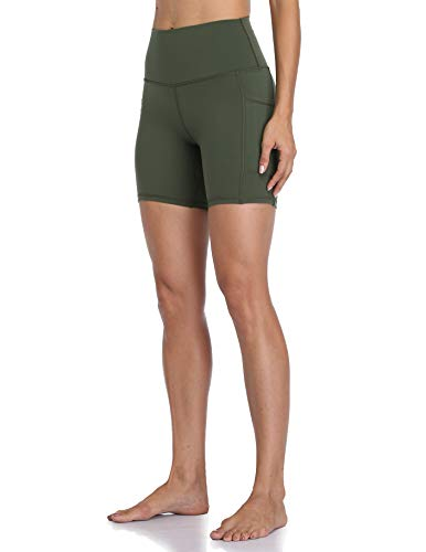 "Colorfulkoala Women's High Waisted Yoga Shorts with Pockets 6"" Inseam Workout Shorts (S, Olive Green)"
