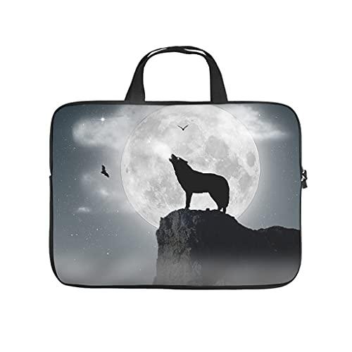 Full Moon Wolf Full Print Laptop Bag Protective Case Waterproof Neoprene Laptop Bag Cute Notebook Bag for Boyfriend Girlfriend