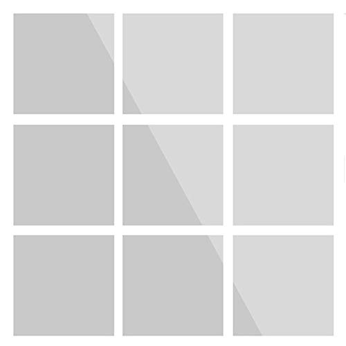 Azulejos de espejo autoadhesivos, 9 unidades, para pared, para habitación, cocina, baño y salón