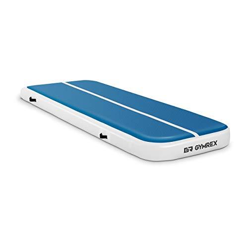 Gymrex GR-ATM4 Tumbling Matte 3m Aufblasbare Turnmatte 300 x 100 x 20 cm Gymnastikmatte Fitnessmatte Sportmatte Yogamatte 150 kg blau/weiß