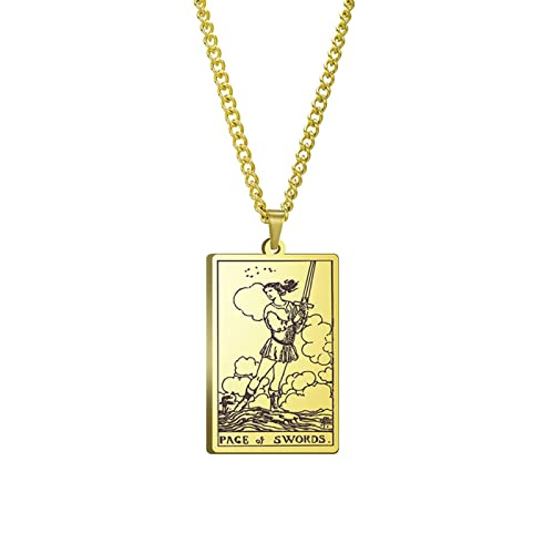 Grand Arcana Anhänger Tarot Karte Lucky Weissagung Schmuck Liebe Halskette Männer und Frauen Freundschaft Geschenke-B10,4mm * 40mm