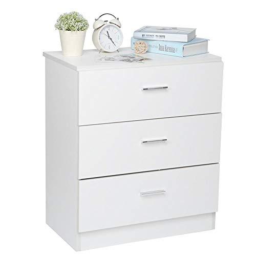 lyrlody ladekast met 3 lagen, nachtkastje nachtkastje nachtkastje houten meubels nachtkastje voor slaapkamer, woonkamer, boekenruimte en kantoor, wit, 60 * 24,5 * 70 cm