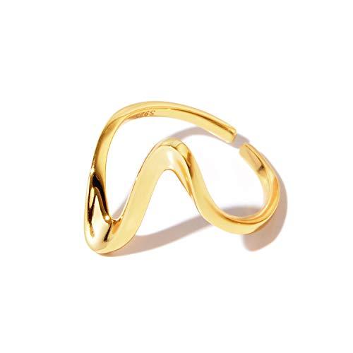 [NARU] シルバー925 ウェーブ リング 【サイズ調整可能】 指輪 メンズ レディース フリーサイズ シンプル おしゃれ かわいい ペア おそろい カップル 人気 ブランド 18金メッキ 金 ゴールド