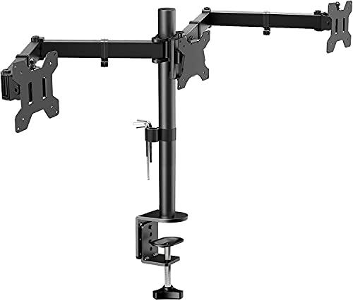 """HUANUO Soporte de Monitor con Triple Brazo - Soporte de Monitor en Escritorio de Articulación con 3 Brazos Ajustable - Cada Brazo Sostiene 10kg - para Pantallas LCD de Ordenador de hasta 24"""""""