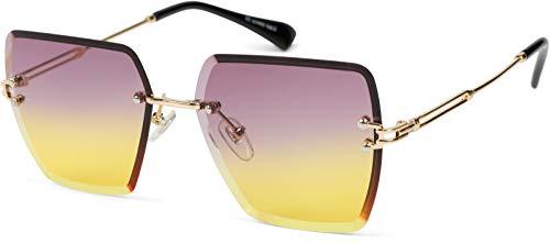 styleBREAKER Gafas de sol para mujer, sin marco, con cristales tintados, montura de metal, corte de diamante 09020124, color Amarillo, talla Einheitsgröße