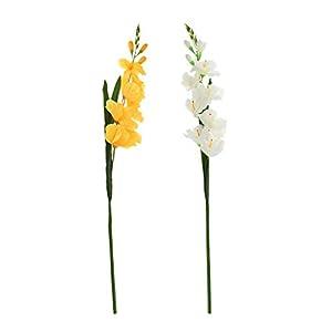 Silk Flower Arrangements 2 Pcs Silk Gladiolus Flowers Artificial for Indoor Outdoor Wedding Home Office Decoration Festive Furnishing - E