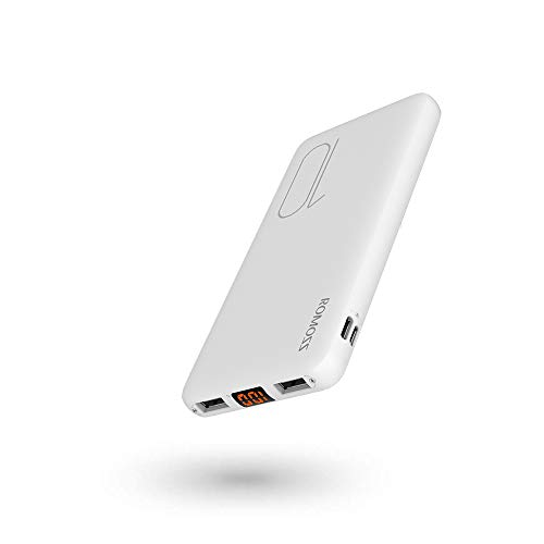 Romoss Bateria Externa 10000mAh Power Bank con 2 Salida USB 17mm Compact Cargador Móvil Portátil con Pantalla LED Batería Externa para Movil, Tabletas y Más