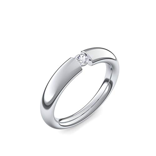 Spannring Platin Ring Diamant 0,10 Carat SI1/H (sehr hochwertig!) +GRATIS Luxusetui +zuverlässiger Versand - Spannringe (Platin Ringe 950) - Tension Amoonic Größe 54 AM25 PL950BRFA54