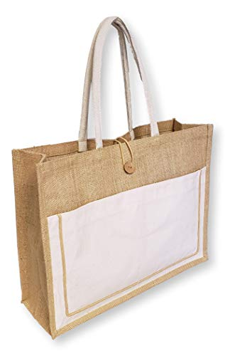 Vintage Style Jute with Cotton Pocket Reusable Large Tote Grocery Shopping Bag - Custom Personalization Available (Natural - No Embroidery)