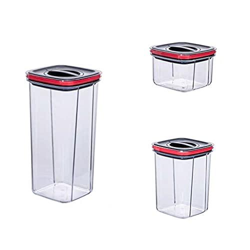 Un conjunto de 3 latas de conservación de alimentos apilables, caja de almacenamiento de alimentos de vacío de silicona giratorio de 90 °, caja de almacenamiento a prueba de humedad de la tuerca, rack