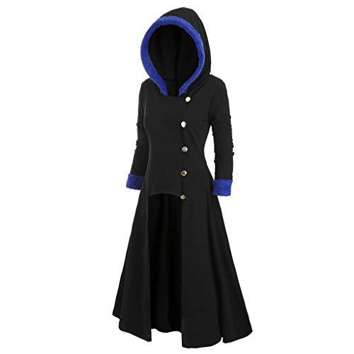 HUI.HUI Mode Womens Asymmetric Fleece Hooded Peignoir Plus Size Cape Vintage High Low Dress Blouses