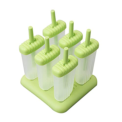 Yidieman Moldes para paletas de Hielo, Juego de moldes para paletas de Hielo, 6 máquinas para Hacer paletas de Hielo, moldes para Helado sin BPA con Tapa antiderrame + Palo-A