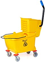 Simpli-Magic 79139 Commercial Mop Bucket with Side Press Wringer, 5 Gallon, Yellow