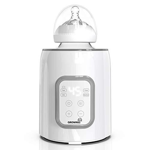 Calentador de biberones, esterilizador 5 en 1 con temporizador Calentador de alimentos para bebés y descongelador Calentador sin BPA con pantalla LCD Control preciso de temperatura para leche materna