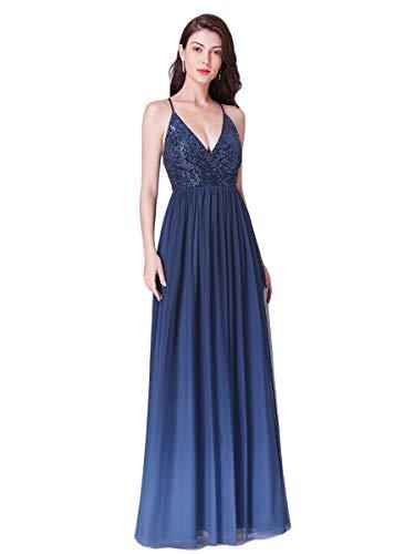 Ever-Pretty Vestido de Fiesta Noche Largo para Mujer Cuello V Profundo Tul Lentejuelas Elástico 07468