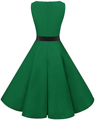 Bbonlinedress 50s Retro Schwingen Vintage Rockabilly kleid Faltenrock Green 3XL - 2