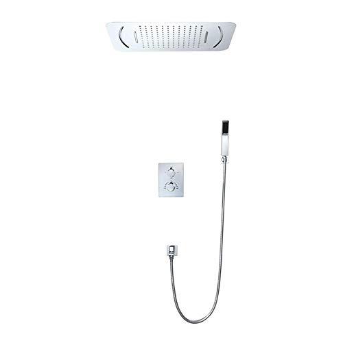 LONGWDS Lámpara de pared oculta termostato de ducha de tres funciones en la pared pre-incrustado caja LED ducha superior spray Delicado