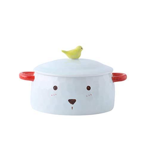Liuwubing Vasellame da tavola in Ceramica Maniglia per Animali Manico in sciroppo antiossidante Scodella per Frutta in Scatola Vassoio per Insalata Blu Chiaro 14x7cm
