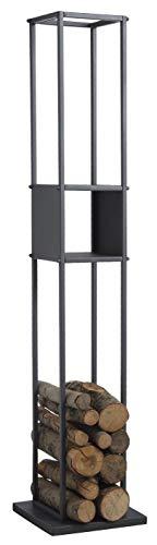 Range-bûches en métal gris avec niche