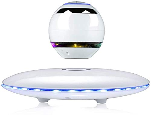Maglev LED-flitser Bluetooth Speaker Maglev geluid oplaadbare draagbare Wireless Speaker subwoofer Lights,White